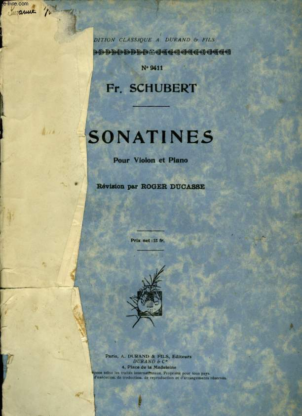 SONATINES POUR VIOLON ET PIANO OP 137 N°1