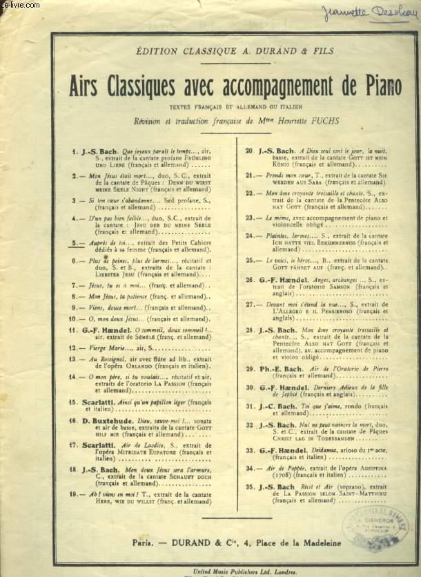 AIRS CLASSIQUES AVEC ACCOMPAGNEMENT DE PIANO N°5 AUPRES DE TOI