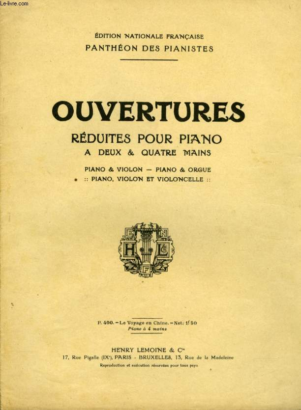 OUVERTURE REDUITES POUR PIANO