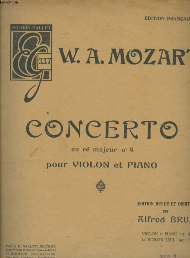 CONCERTO EN RE MAJEUR N°4 POUR VIOLON ET PIANO