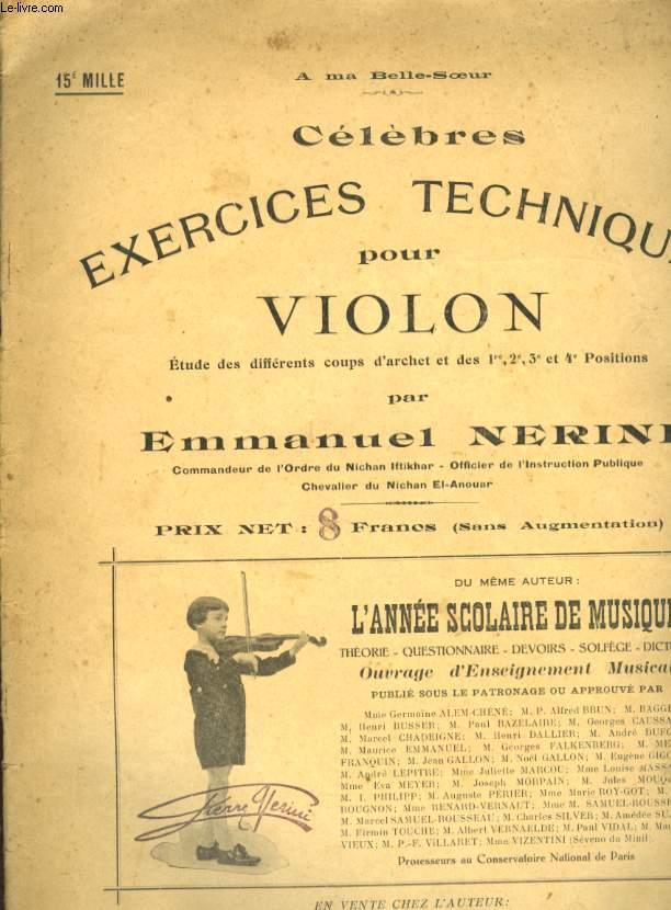 CELEBRES EXERCICES TECHNIQUES POUR VIOLON