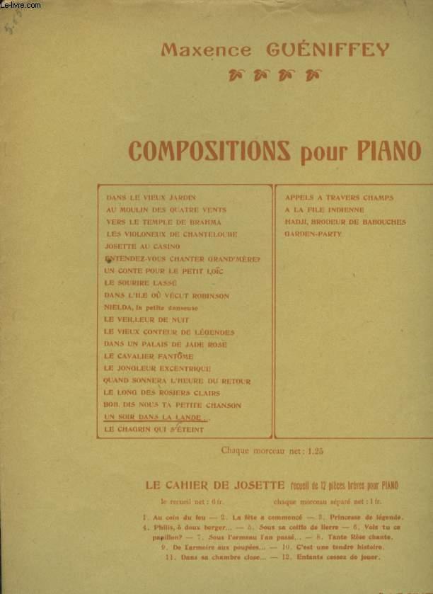 COMPOSITIONS POUR PIANO  UN SOIR DANS LA LANDE...
