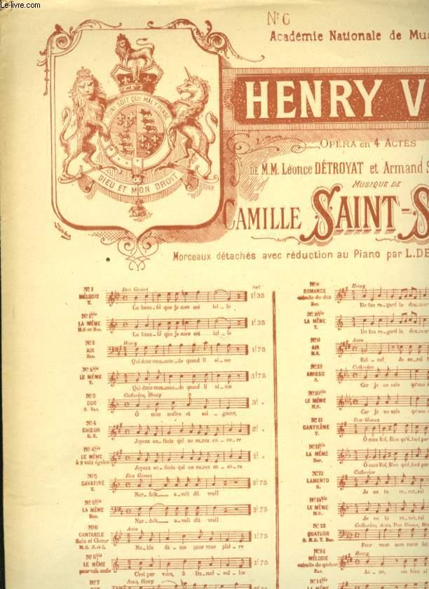 HENRY VIII OPERA EN 4 ACTES
