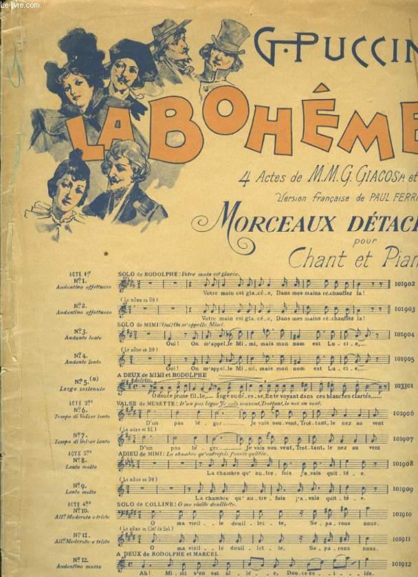 LA BOHEME MORCEAUX DETACHES POUR CHANT ET PIANO N°3 OUI! ON M'APPELE MUNI
