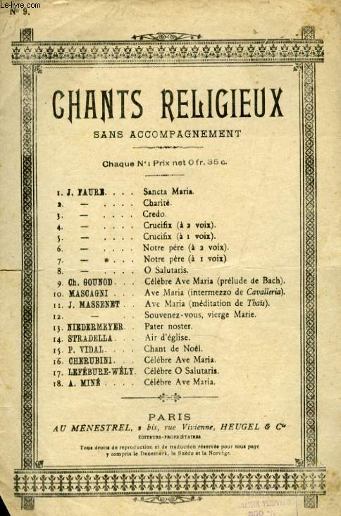 CHANT RELIGIEUX N° 9 AVE MARIA