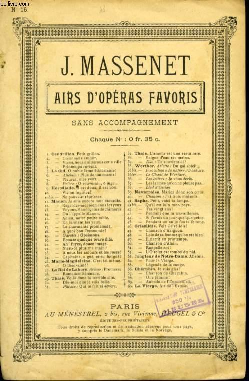 AIRS D'OPERAS FAVORIS N° 16 MANON EN FERMANT LES YEUX