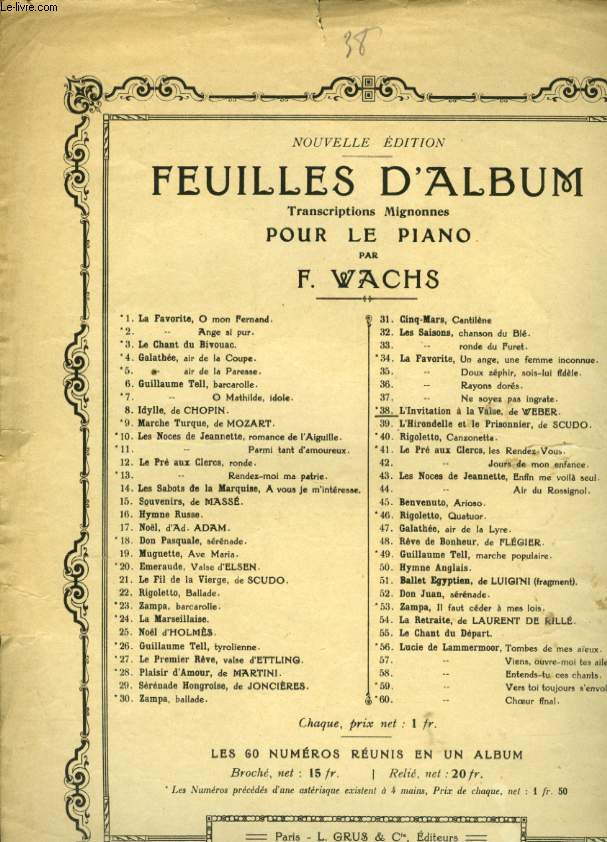 FEUILLE D'ALBUM N° 38 INVITATION A LA VALSE