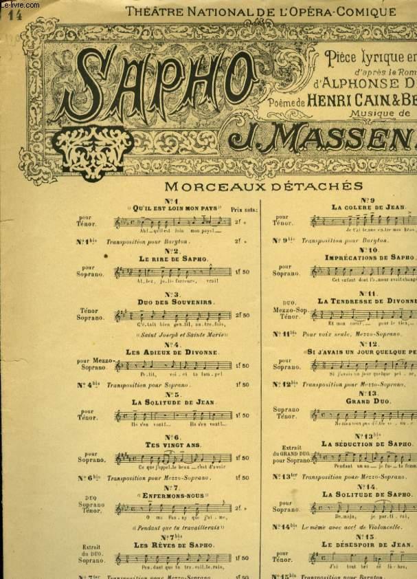 SAPHO PIECE LYRIQUE EN 5 ACTES N°14 LA SOLITUDE DE SAPHO