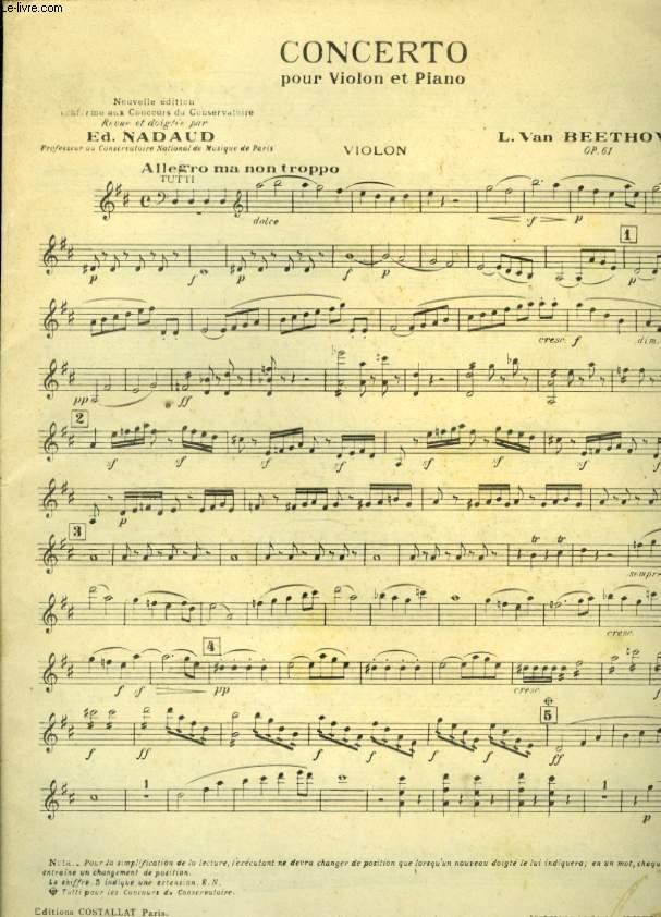 CONCERTO POUR VIOLON ET PIANO OP 61