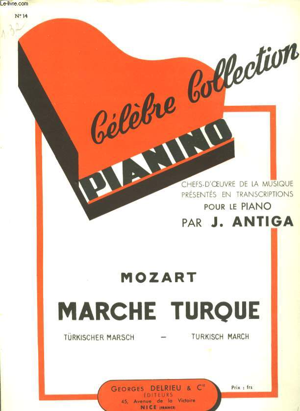 CELEBRE COLLECTION PIANINO N° 14MARCHE TURQUE