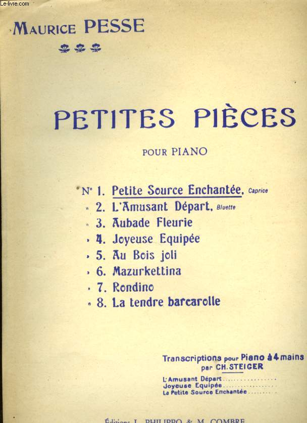 PETITES PIECES POUR PIANO N° 1 PETITE SOURCE ENCHANTEE