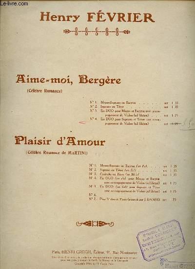 AIME-MOI, BERGERE. CELEBRE ROMANCE. N°2 SOPRANO ET TENOR.