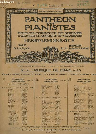 OEUVRES POUR PIANO : SONATE EN UT MAJEUR, A 4 MAINS OP. 67 - N° 7833.