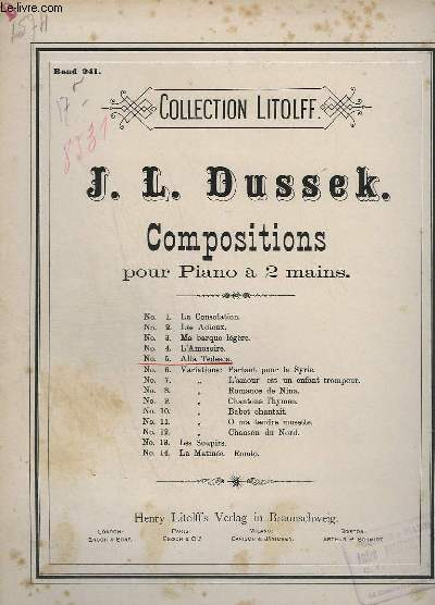 COMPOSITIONS POUR PIANO A 2 MAINS - INCOMPLETE - N°5 : ALLA TEDESCA, RONDEAU - COLLECTION LITOLFF N° 399 - BAND 241.