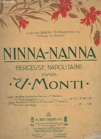 NINNA-NANNA - BERCEUSE NAPOLITAINE - N° 104598 : MANDOLINE OU VIOLON / GUITARE.