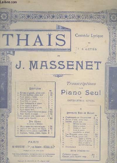 THAIS - N°1A : MEDITATIONS - TRANSCRIPTION - PIANO.