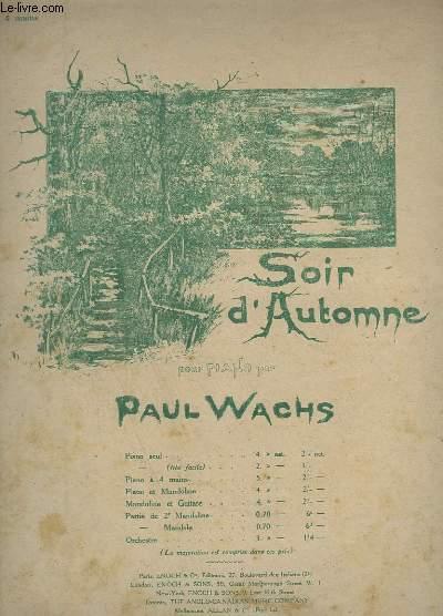 SOIR D'AUTOMNE - POUR PIANO A 4 MAINS.