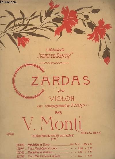 CZARDAS POUR VIOLON - AVEC ACCOMPAGNEMENT DE PIANO.