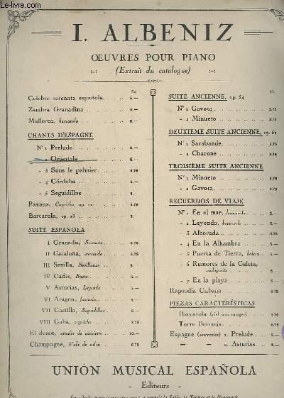 OEUVRES POUR PIANO - CHANTS D'ESPAGNE N°2 : ORIENTALE - OP.232.