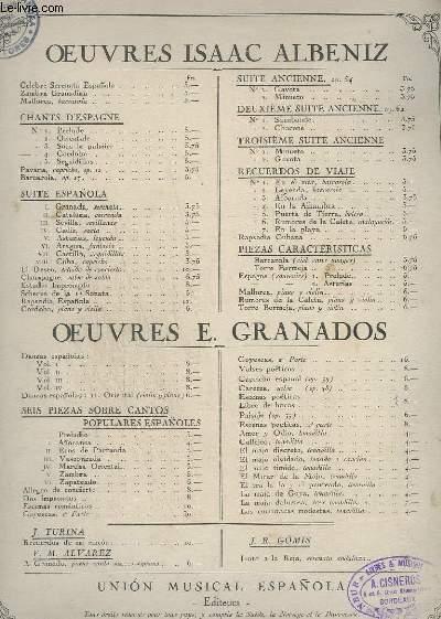 OEUVRES ISAAC ALBENIZ - CHANTS D'ESPAGNE N° 4 : CORDOBA - OP.232.