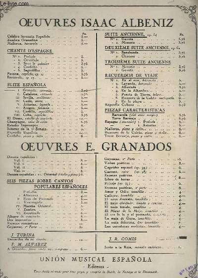 OEUVRES ISAAC ALBENIZ - SUITE ESPANOLA N°1 : GRANADA - POUR PIANO.
