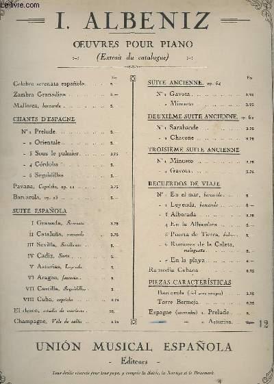 OEUVRES POUR PIANO - PIEZAS CARACTERISTICAS - ESPAGNE N°2 : AUSTURIAS.