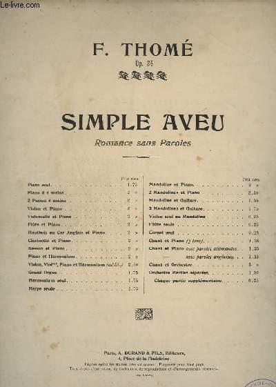 SIMPLE AVEU - OP.25 - ROMANCE SANS PAROLES - PIANO A 4 MAINS.