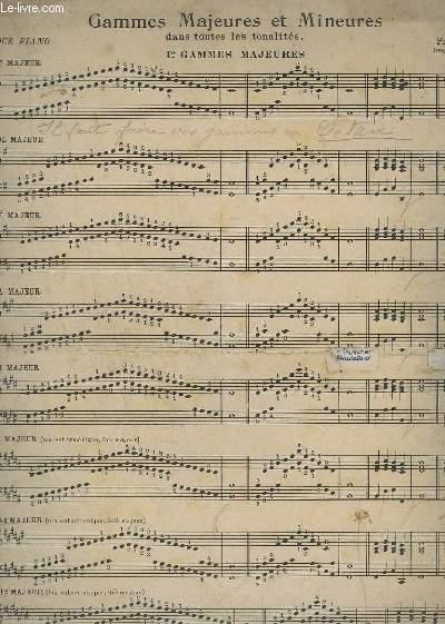 GAMMES MAJEURES ET MINEURS DANS TOUTES LES TONALITES. - POUR PIANO.