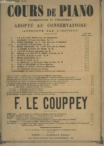 COURS DE PIANO - N° 3 : LE PROGRES - 25 ETUDES FACILES - OP.24.