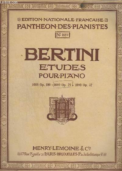 ETUDES POUR PIANO - N° 1089 OP. 29.