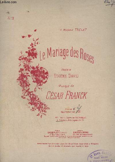 LE MARIAGE DES ROSES - N2 : BARYTON OU MEZZO SOPRANO (EN A) - PIANO.