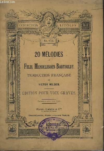 20 MELODIES - EDITION POUR VOIX GRAVES - N°972.