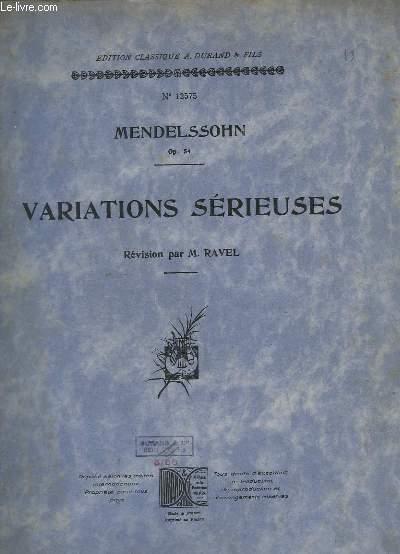 VARIATIONS SERIEUSES - OP.54 - N°12575.