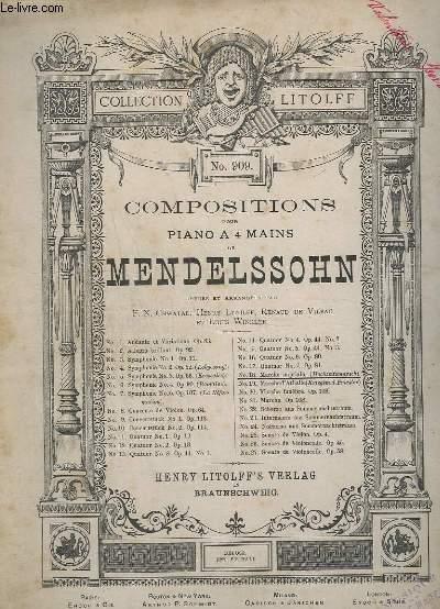 COMPOSITIONS POUR PIANO A 4 MAINS - N°18 : MARCHE NUPTIALE  (HOCHZEITSMARSH).- N° 909.