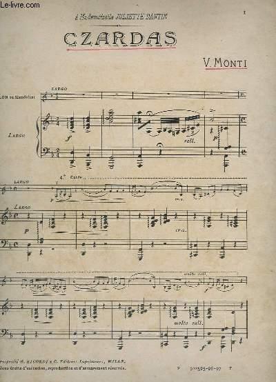 CZARDAS - POUR PIANO ET VIOLON + 1 PARTITION MANUSCRITE POUR SAXO ALTO.