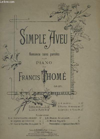 SIMPLE AVEU - ROMANCE SANS PAROLES POUR PIANO - OP.25.