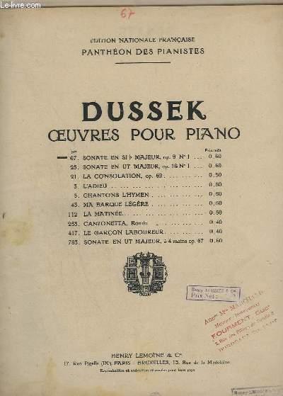OEUVRES POUR PIANO - N°67 : SONATE EN SI B MAJEUR - OP.9 N°1.