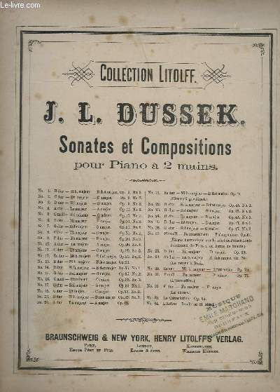 SONATES ET COMPOSITIONS - N°30 : OP.75 - POUR PIANO A 2 MAINS.