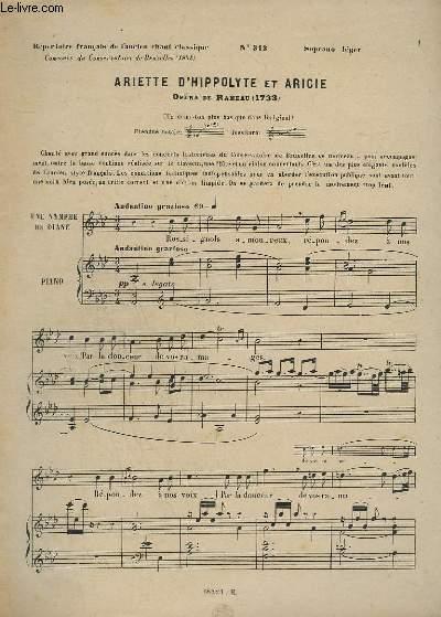 LE CHANT CLASSIQUE - N°313 - ARIETTE D'HIPPOLYTE ET ARICIE - PIANO.