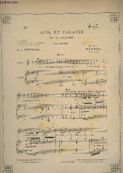 Acis et galatee / air de galatee - n°17 - chant et piano.