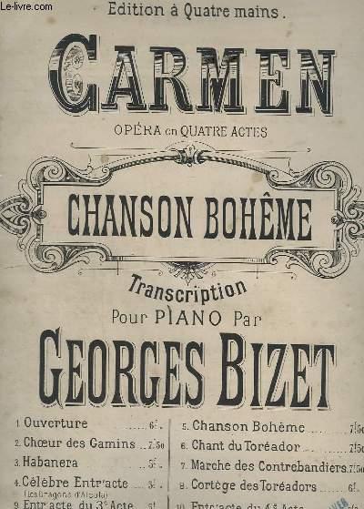 CARMEN - N° 5 : CHANSON BOHEME - N°11 EDITION A 4 MAINS.