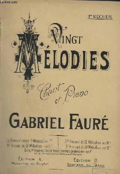 20 MELODIES - CHANT ET PIANO - EN 3 RECCUEIL - EDITION B : SOPRANO OU TENOR.