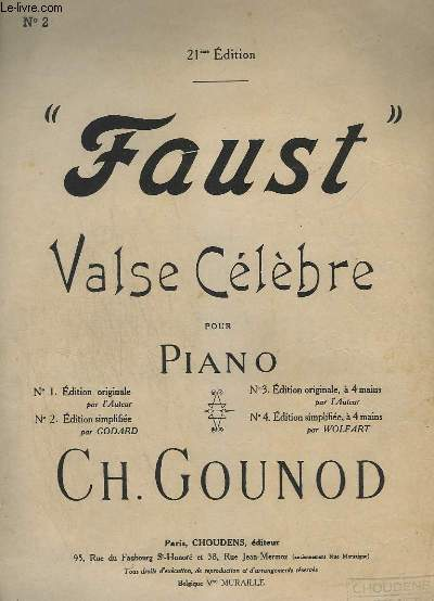 FAUST - VALSE POUR PIANO - OPERA EN 5 ACTES - N°2 : EDITION SIMPLIFIEE.