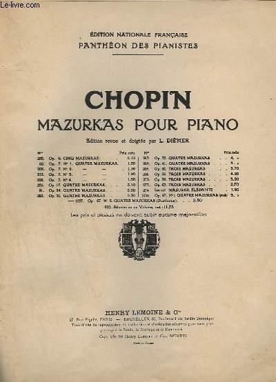 PANTHEON DES PIANISTES - MAZURKAS POUR PIANO - OP.68 : 4 MAZURKAS.