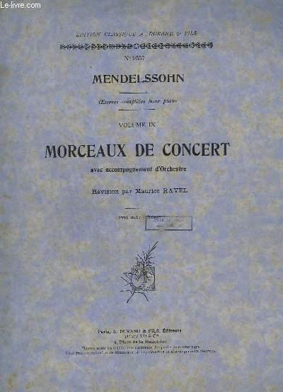 OEUVRES COMPLETES POUR PIANO - VOLUME 9 - MORCEAUX DE CONCERT AVEC ACCOMPAGNEMENT D'ORCHESTRE - N°9557.