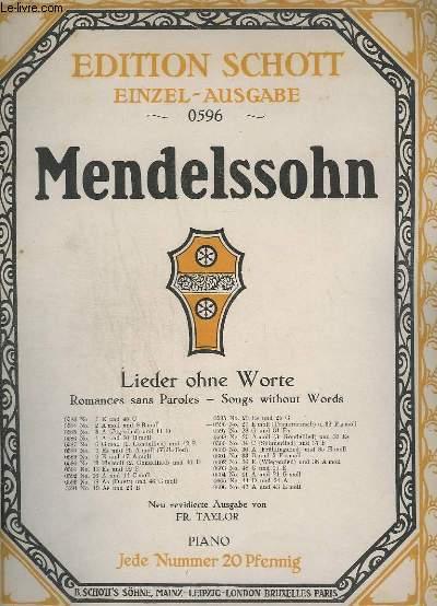 LIEDER OHNE WORTE / ROMANCES SANS PAROLES / SONGS WITHOUT WORDS - N°0596 : N°27 E MOLL ( TRAUERMARSCH) U.32 FIS MOLL.- PIANO.