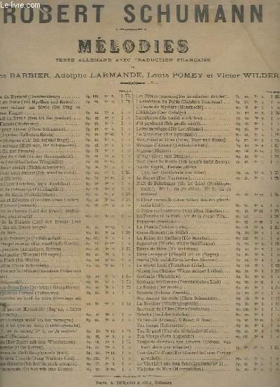 MELODIES - OP.49 N°1 : LES DEUX GRENADIERS / DIE BEIDEN GRENADIERE - PIANO ET CHANT - TEXTE FRANCAIS / ALLEMAND.
