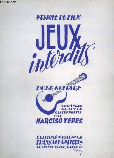 MUSIQUE DU FILM - JEUX INTERDITS POUR GUITARE -  ROMANCE + SARABANDE + BOURREE + MENUET + CHANSON POPULAIRE + PEQUENO ESTUDIO.