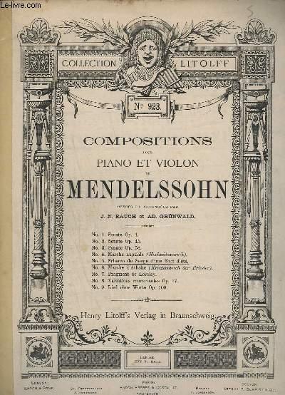 COMPOSITIONS POUR PIANO ET VIOLON N° 5 : SCHERZO DU SONGE D'UNE NUIT D'ETE - N°923.