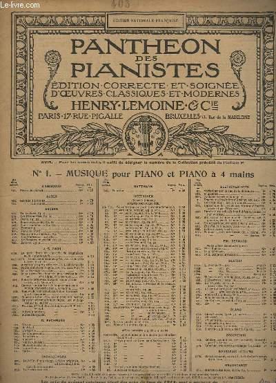 PANTHEON DES PIANISTES - N° 1 : MUSIQUE DE PIANO A 4 MAINS - OEUVRE N°447 : SCHERZO DU